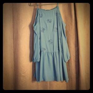 Nwt teal embroidered cold shoulder dress